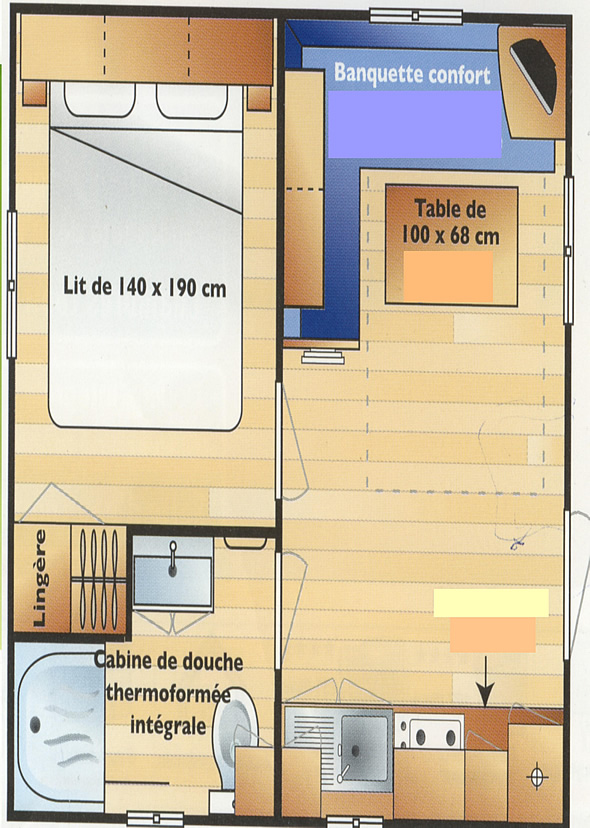 Plan Mobil-home Mini 2 personnes